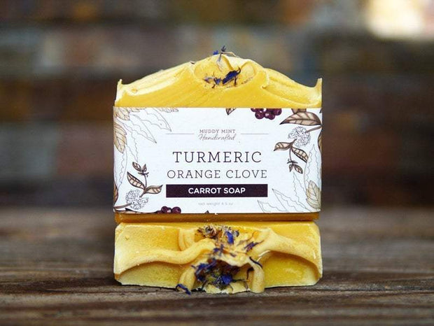 Handmade and Natural Soap Muddy Mint Turmeric Orange Clove Soap