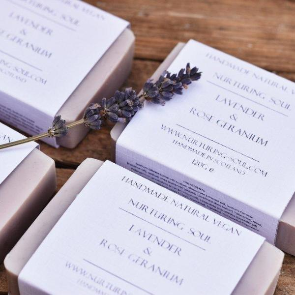 Handmade and Natural Soap Nuturing Soul Lavender & Rose Geranium Soap