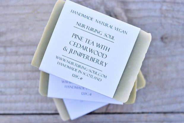 Handmade and Natural Soap Nuturing Soul Pine Tea with Cedarwood & Juniperberry Soap