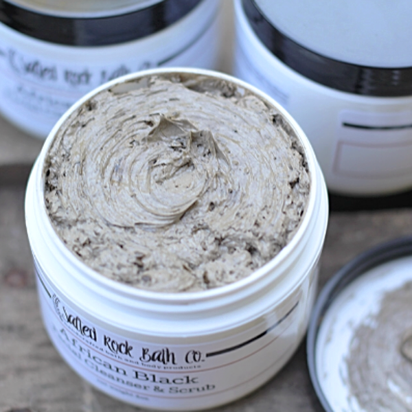 Handmade and Natural Face Scrub Salted Rock Bath Co. African Black Facial Cleanser & Scrub