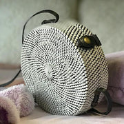 Handmade and Natural Bags The Serene Life Round Rattan Bag - Black Straw bag
