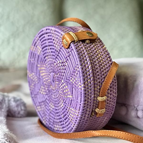 Handmade and Natural Bags The Serene Life Round Rattan Bag - Colorful Flores
