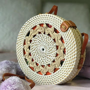 Handmade and Natural Bags The Serene Life Round Rattan Bag with White Braids