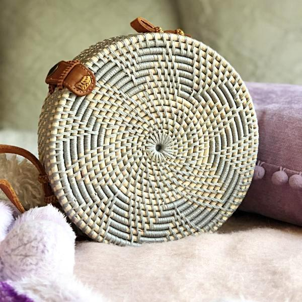 Handmade and Natural Bags The Serene Life Round Rattan - Gray Straw Bag