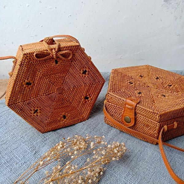 Handmade and Natural Bags The Serene Life Sanur Hexagon Rattan Bag