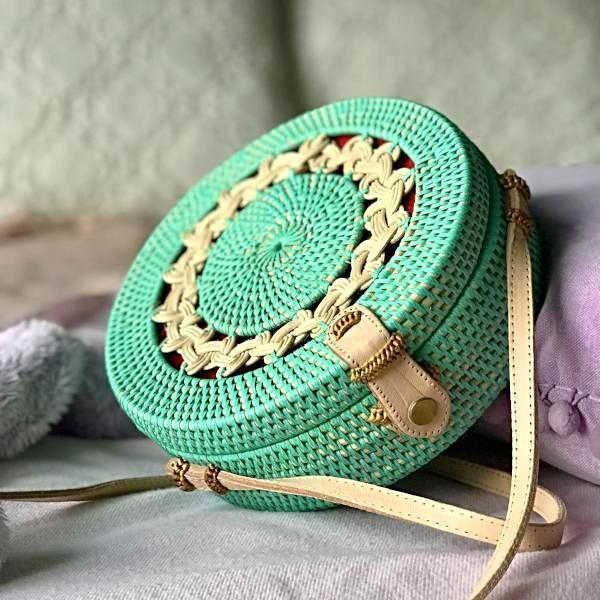 Handmade and Natural Bags The Serene Life Teal Rattan Bag