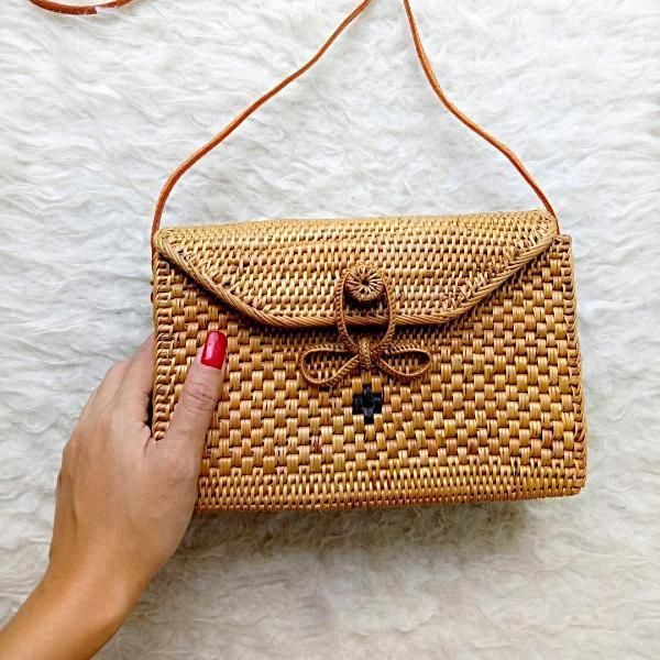 Handmade and Natural Bags The Serene Life Uluwatu Rectangle Rattan Bag