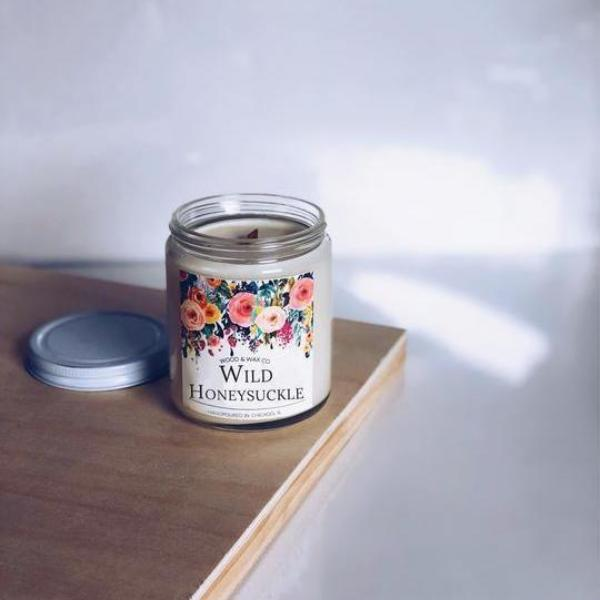 Handmade and Natural Candles WoodandWaxCo Wild Honeysuckle Soy Candle