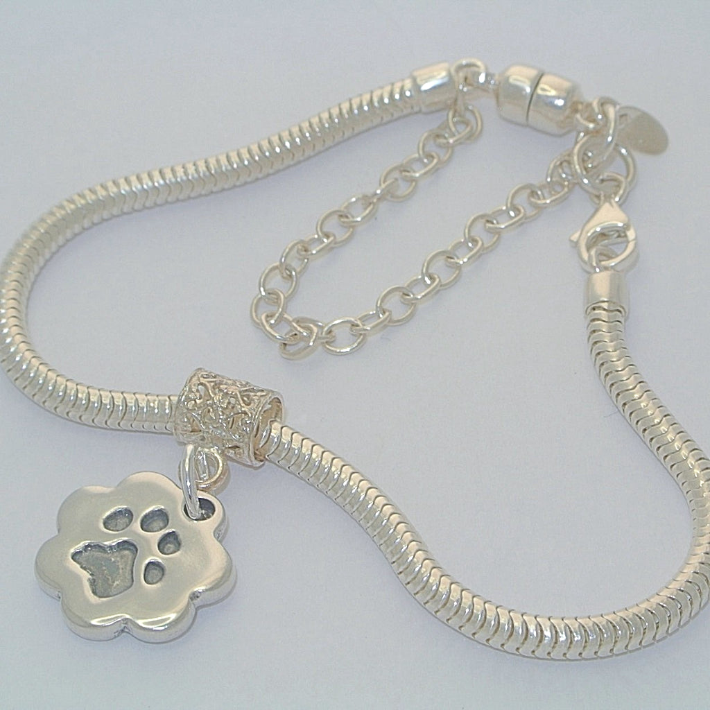 Double-Sided Bracelet Charm Sterling Silver Pawprint Jewellery