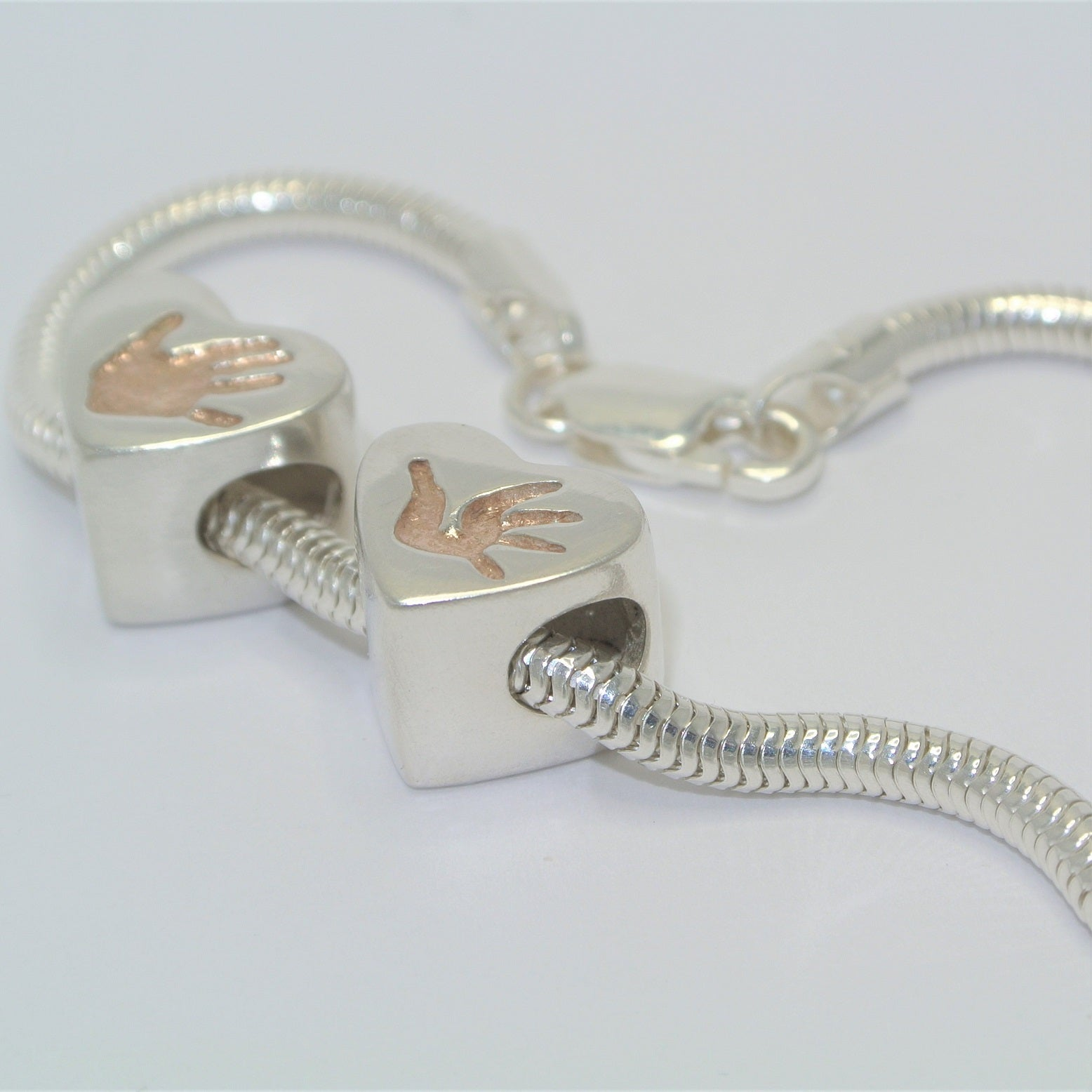 Heart Bracelet Charm Bead with Rose Gold Sterling Silver Handprint Jewellery