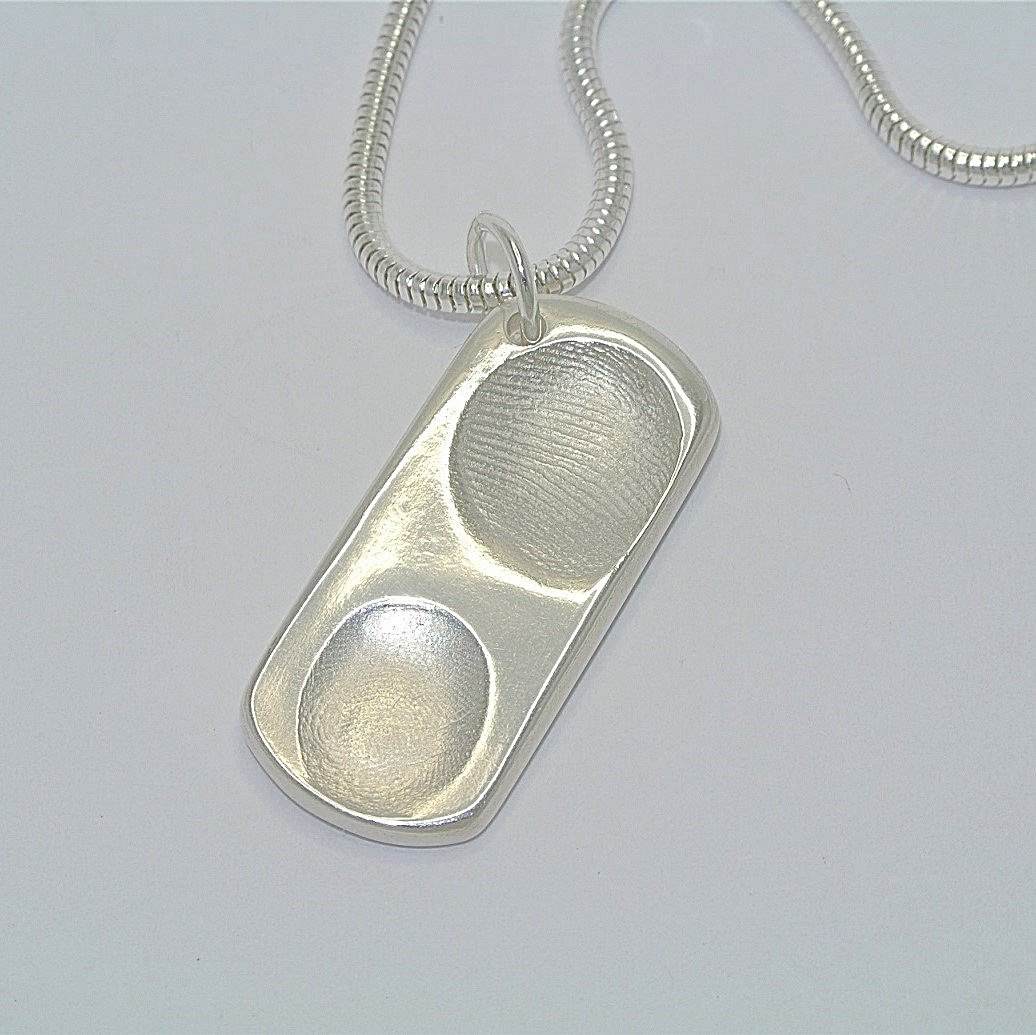 Dogtag Shaped Sterling Silver Fingerprint Jewellery