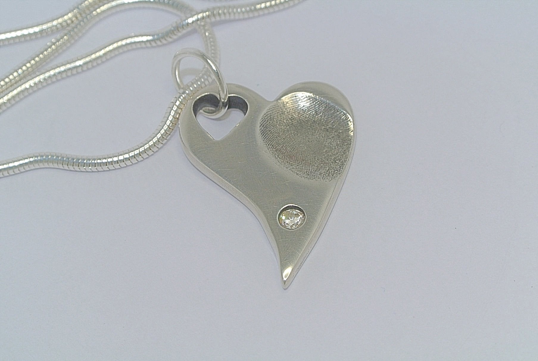 Fingerprint Heart with Gemstone Necklace