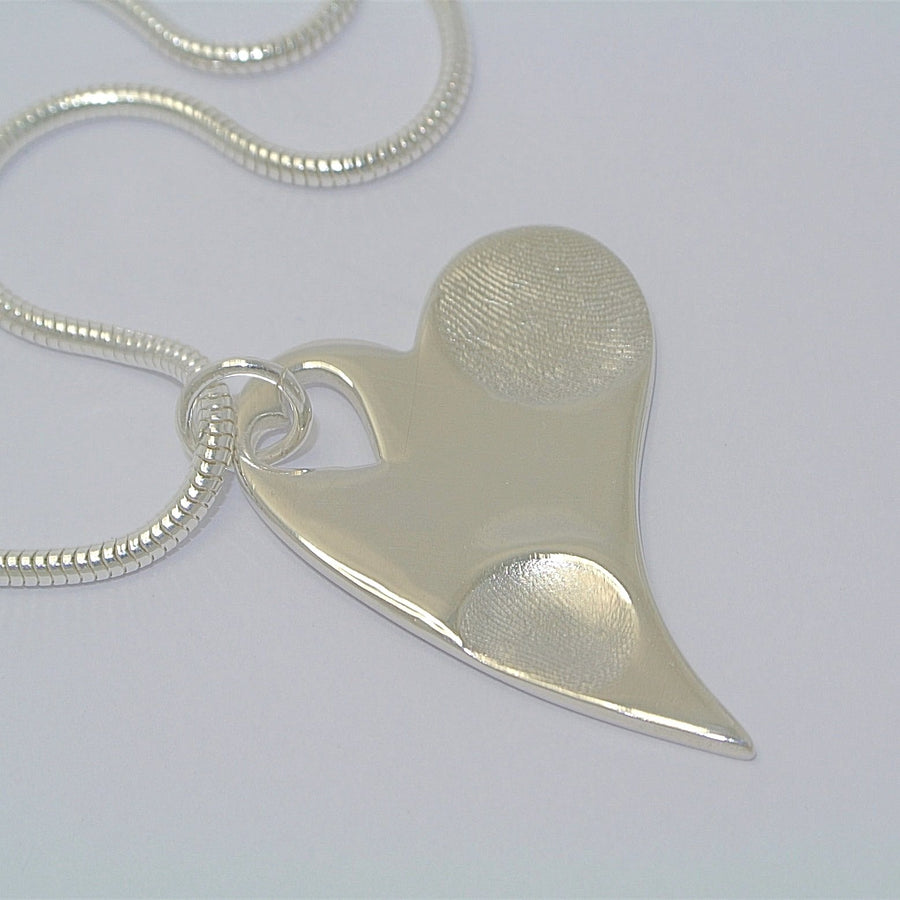 Wavy Heart Fingerprint with heart cutout Sterling Silver Fingerprint Jewellery