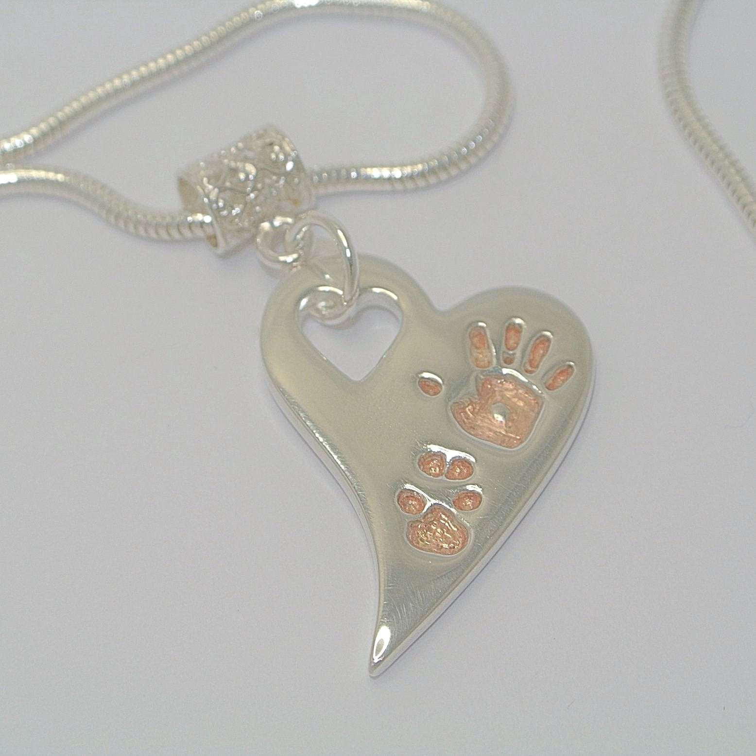Wavy Heart Pawprint with Rose Gold. Sterling Silver Pawprint Jewellery