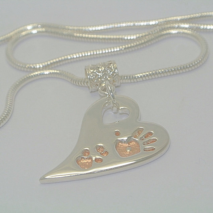 Wavy Heart Pawprints with Rose Gold. Sterling Silver Pawprint Jewellery