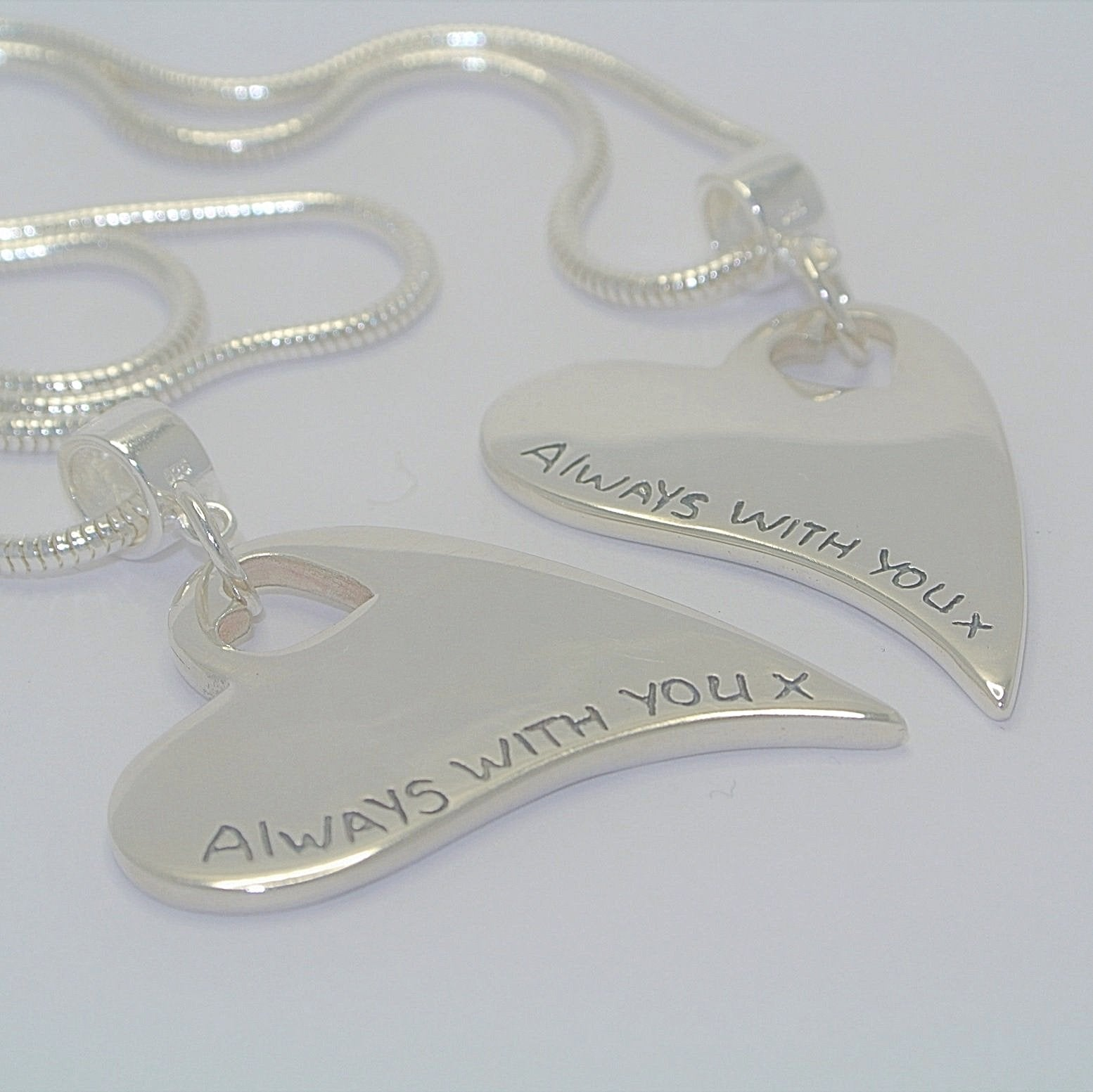 Wavy Heart with heart cutout Sterling Silver Fingerprint Jewellery