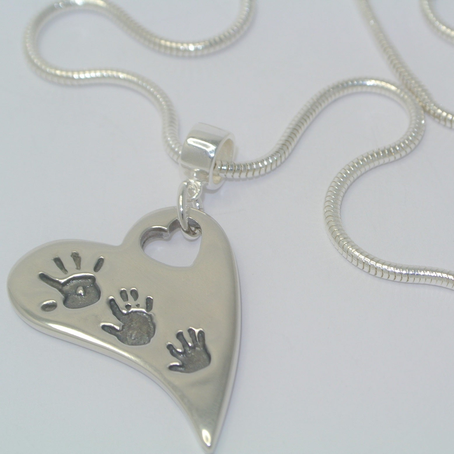 Two/Three Handprint Wavy Heart Necklace with Mini Heart Cut-Out