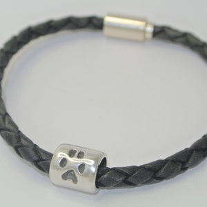 Handprint Barrel Bead on a Black Braided Leather Bracelet