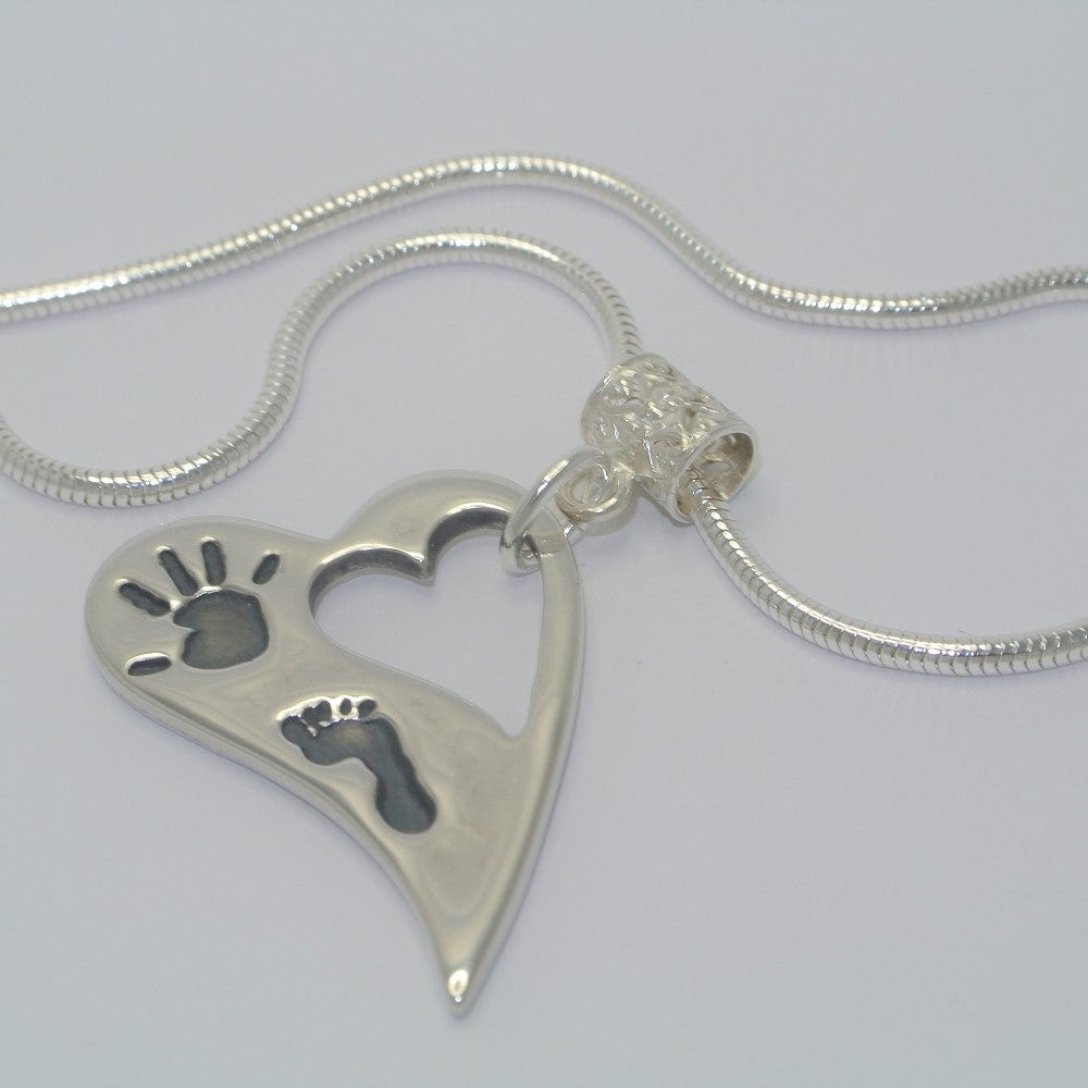 Wavy Heart, two/three Prints Sterling Silver Handprint Jewellery