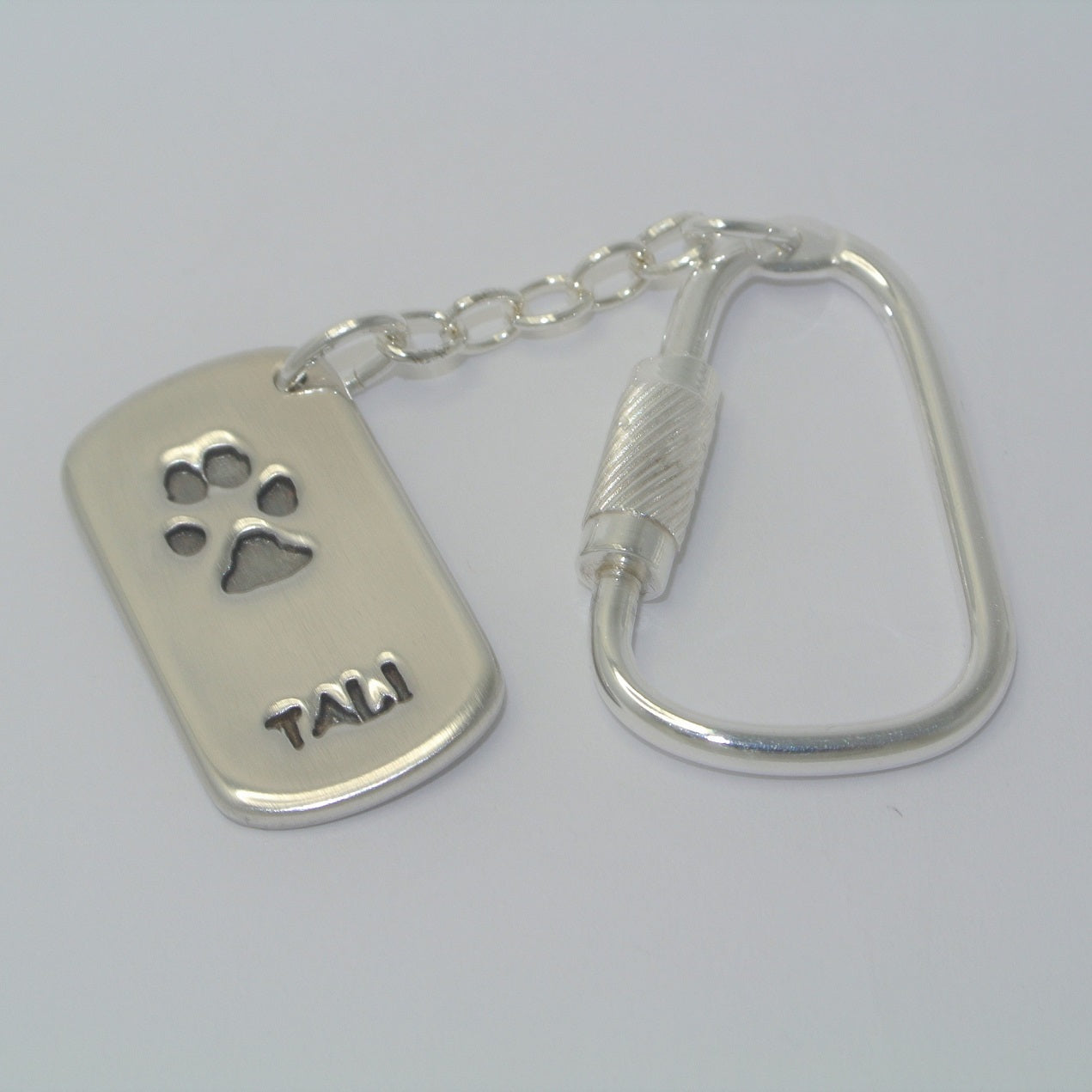 Dogtag Shape Pawprint Sterling Silver Keepsake Jewellery