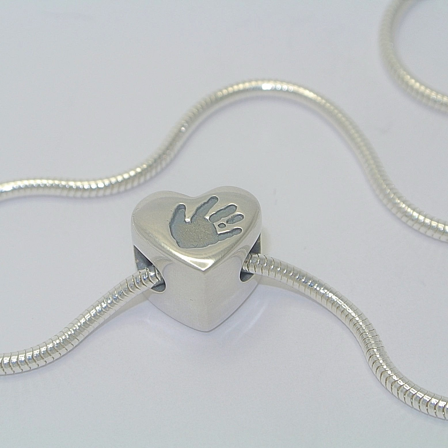 Handprint Heart Bead Charm