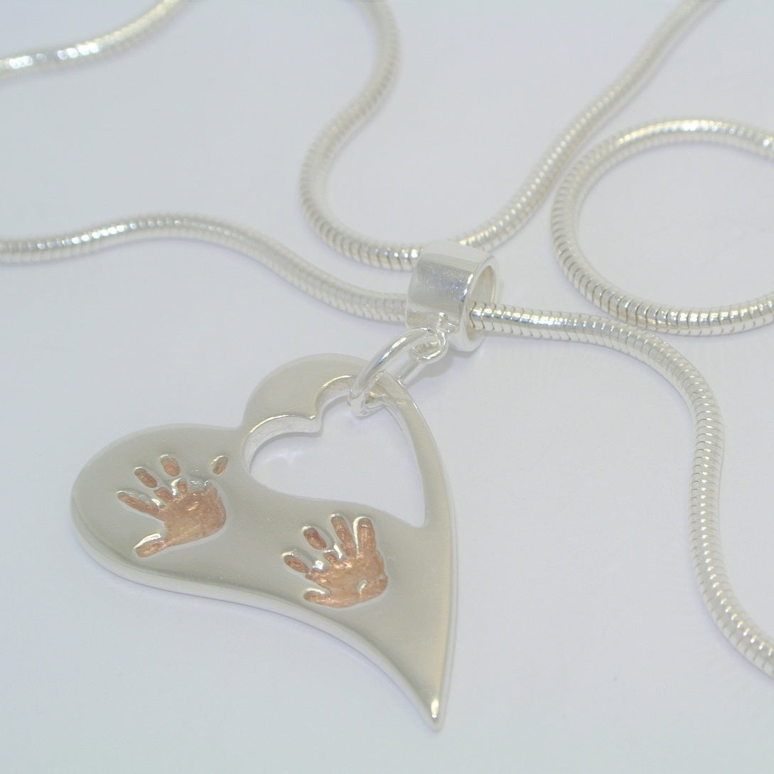Wavy Heart Two Handprints with Rose Gold. Sterling Silver Handprint Jewellery