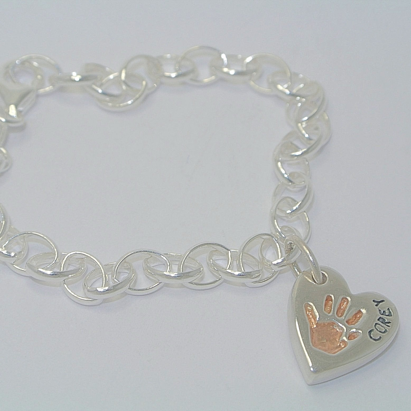 Heart Bracelet Charm with Rose Gold. Sterling Silver Handprint Jewellery