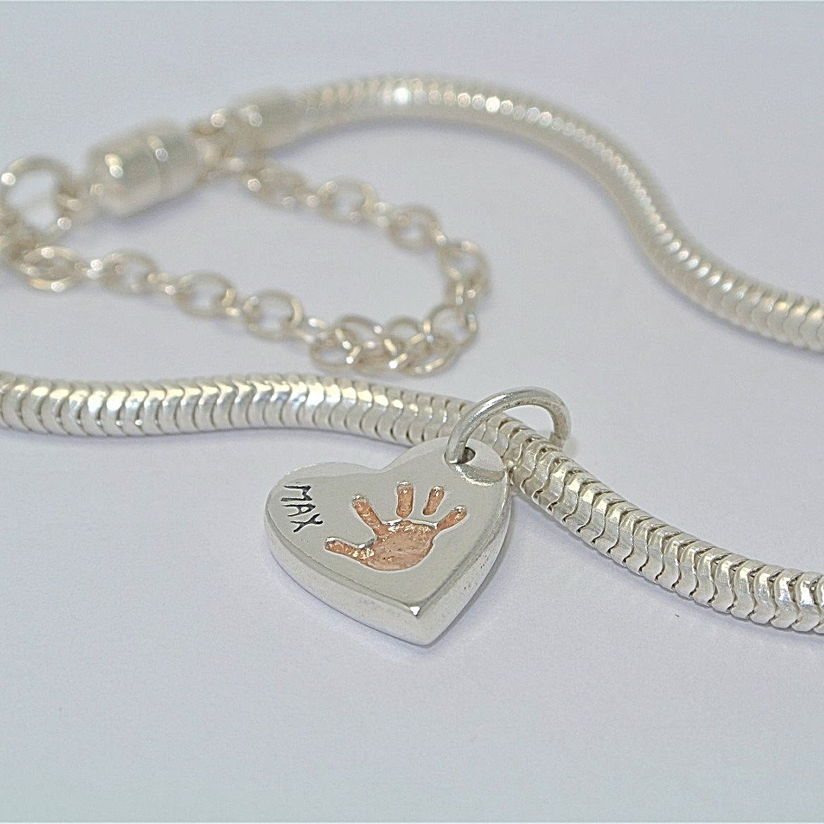 Double-Sided Heart Charm with Rose Gold. Sterling Silver Handprint Jewellery