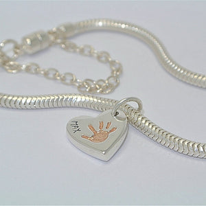 Handprint Double-Sided Heart Charm with Rose Gold
