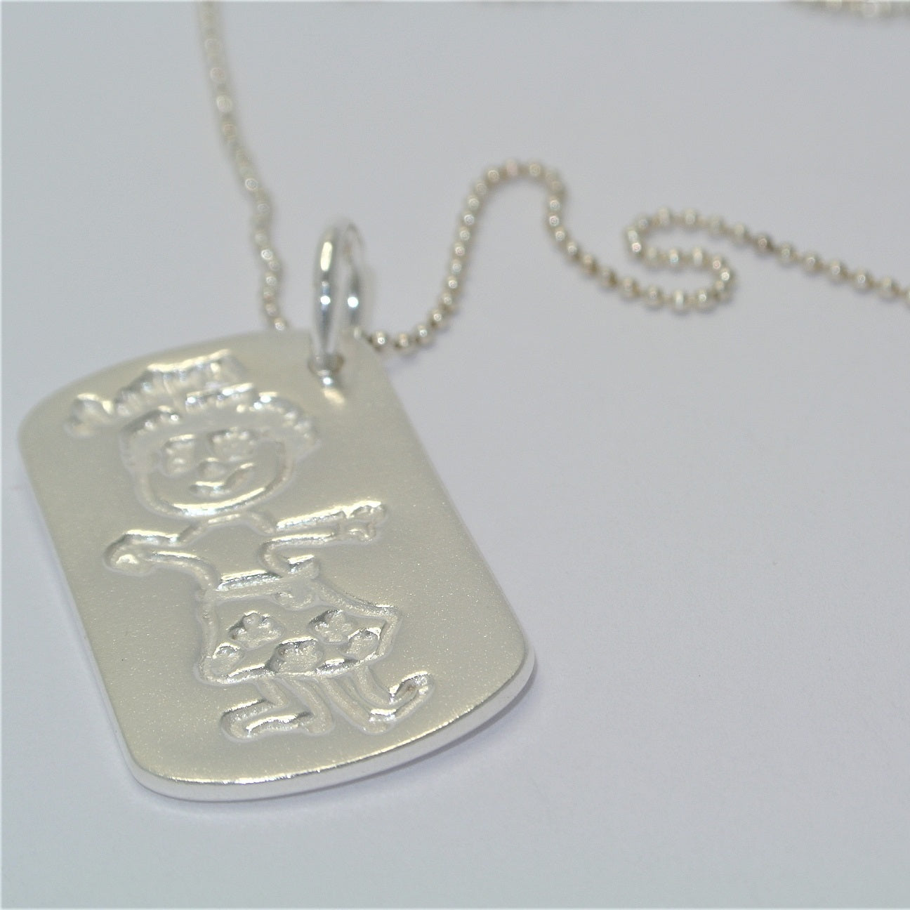 Dogtag with Childrens Drawing Sterling Silver Keepsake Jewellery