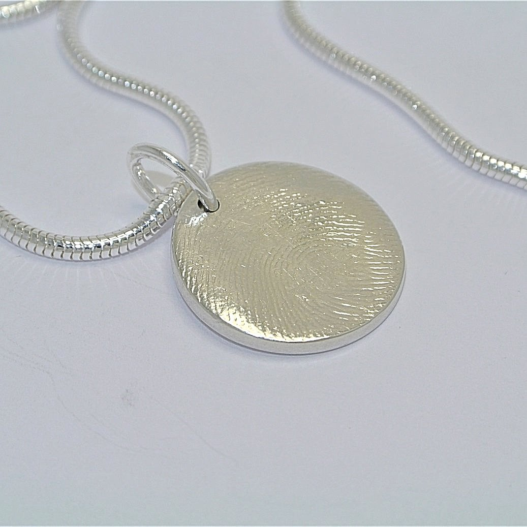 Full Fingerprint Circle Sterling Silver Fingerprint Jewellery