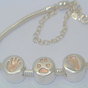 Handprint Silver Charm Bead with Rose Gold