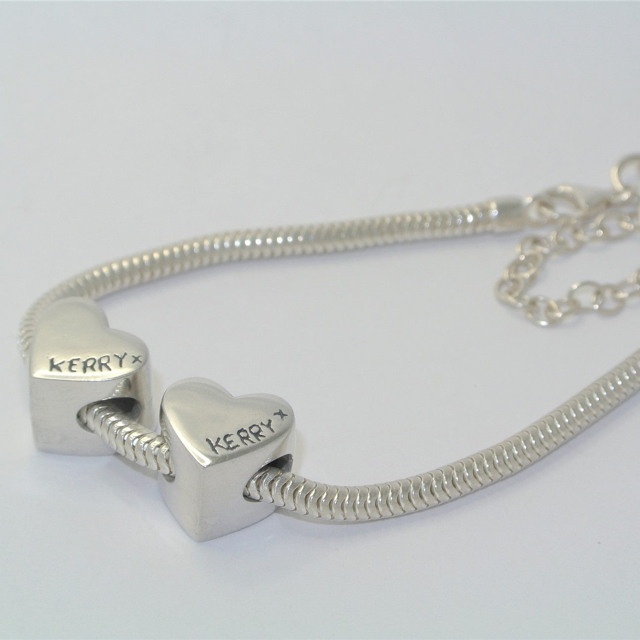 Pandora Style Heart Bead Sterling Silver Fingerprint Jewellery