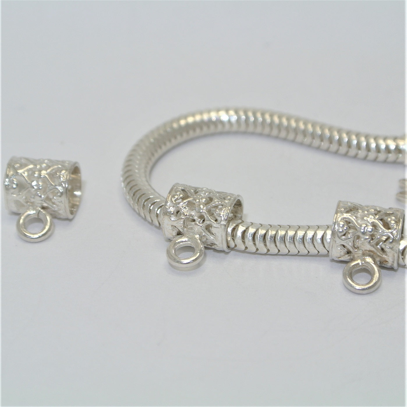 Sterling Silver Filigree Tube Bail For Sterling Silver Fingerprint Jewellery