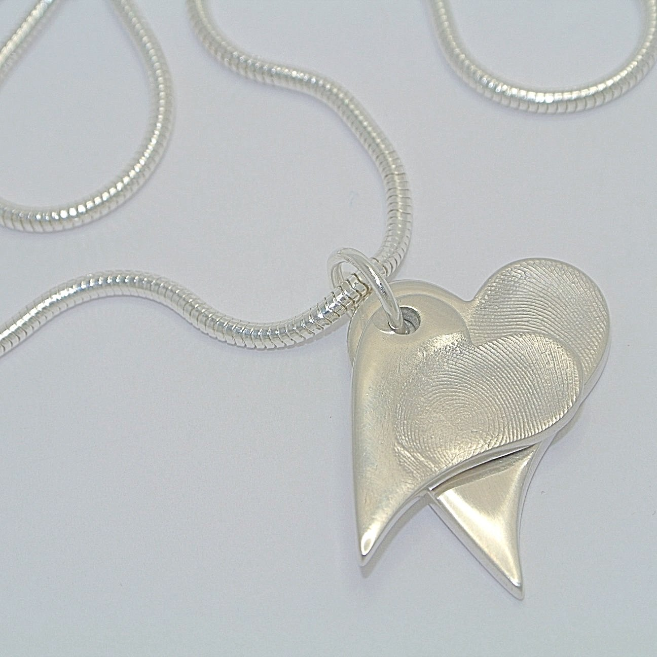 Descending Duo Sterling Silver Fingerprint Jewellery Pendants
