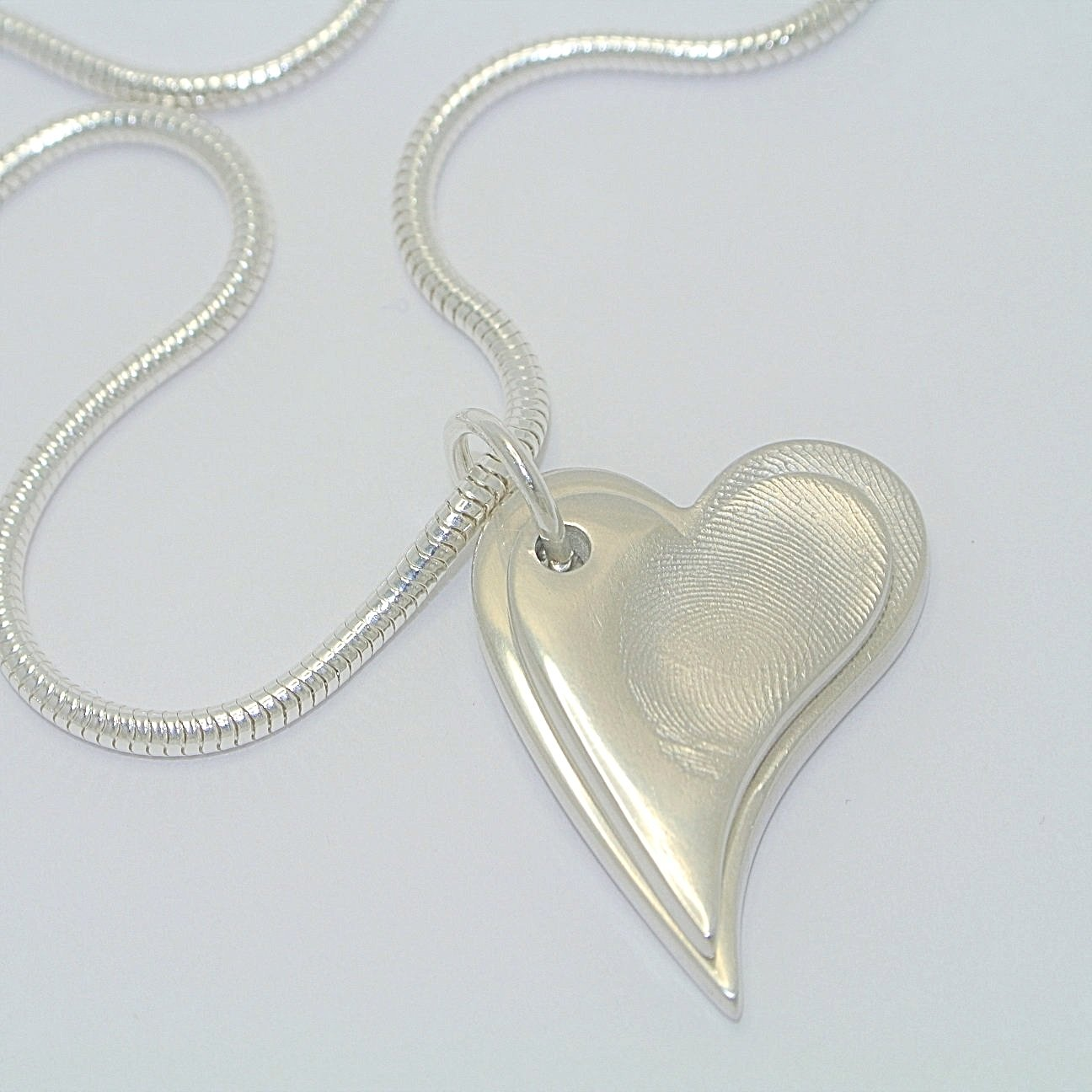 Descending Duo necklace Sterling Silver Fingerprint Jewellery
