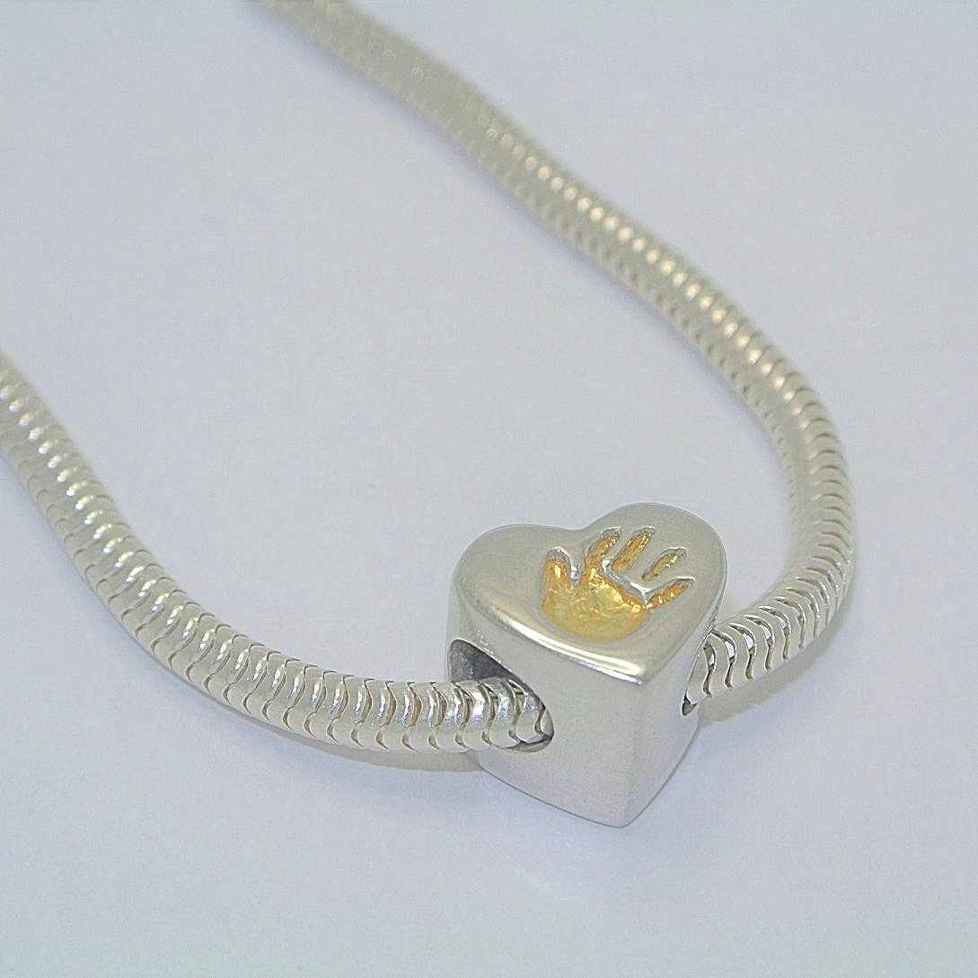 Heart Charm Bead with Gold. Sterling Silver Handprint Jewellery
