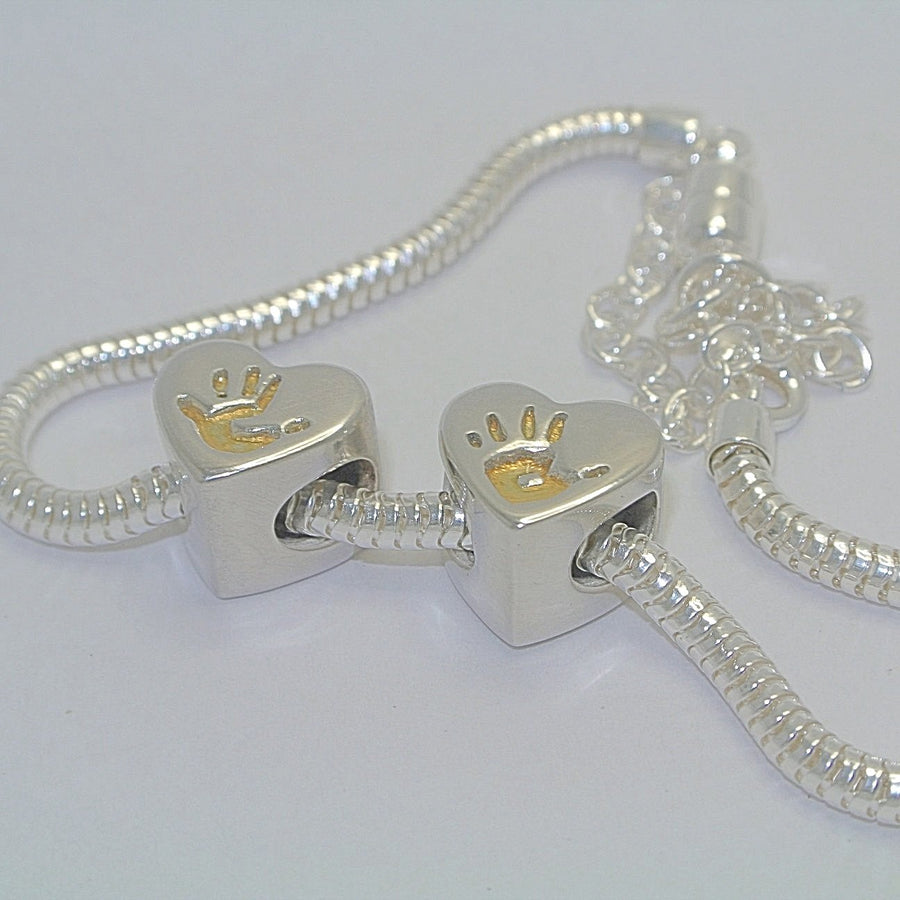 Heart Bracelet Charm Bead with Gold. Sterling Silver Handprint Jewellery