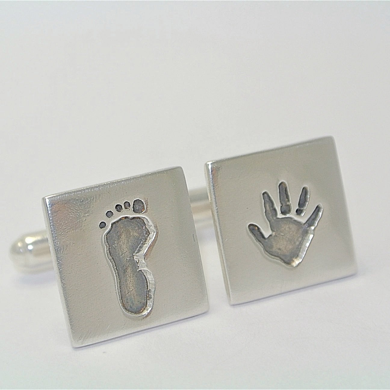 Handprint and Footprint Cufflinks Sterling Silver Keepsake Jewellery