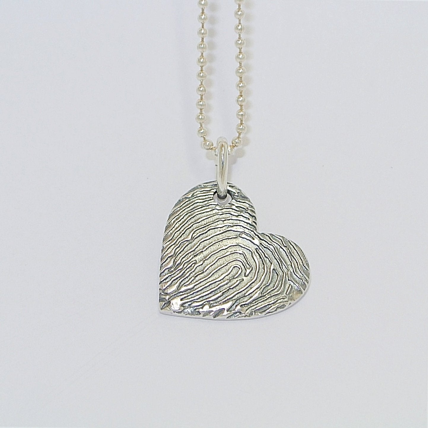 Magnified Fingerprint Heart. Sterling Silver Fingerprint Jewellery