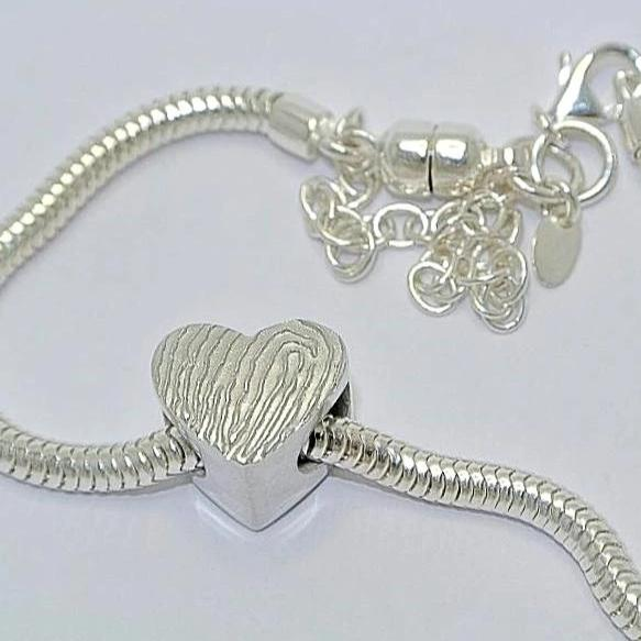 Magnified Pandora Style Heart Charm Bead. Sterling Silver Fingerprint Jewellery
