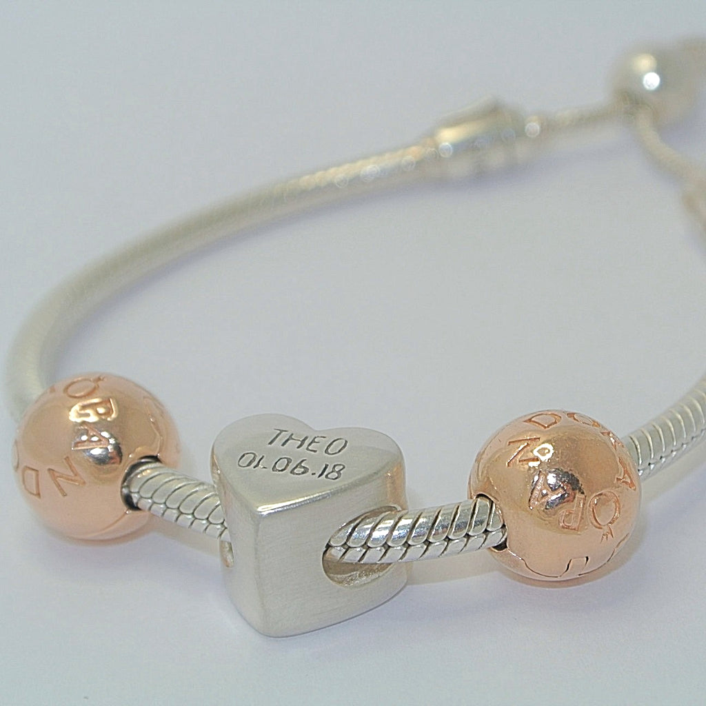 Heart Charm Bead with Rose Gold Sterling Silver Handprint Jewellery