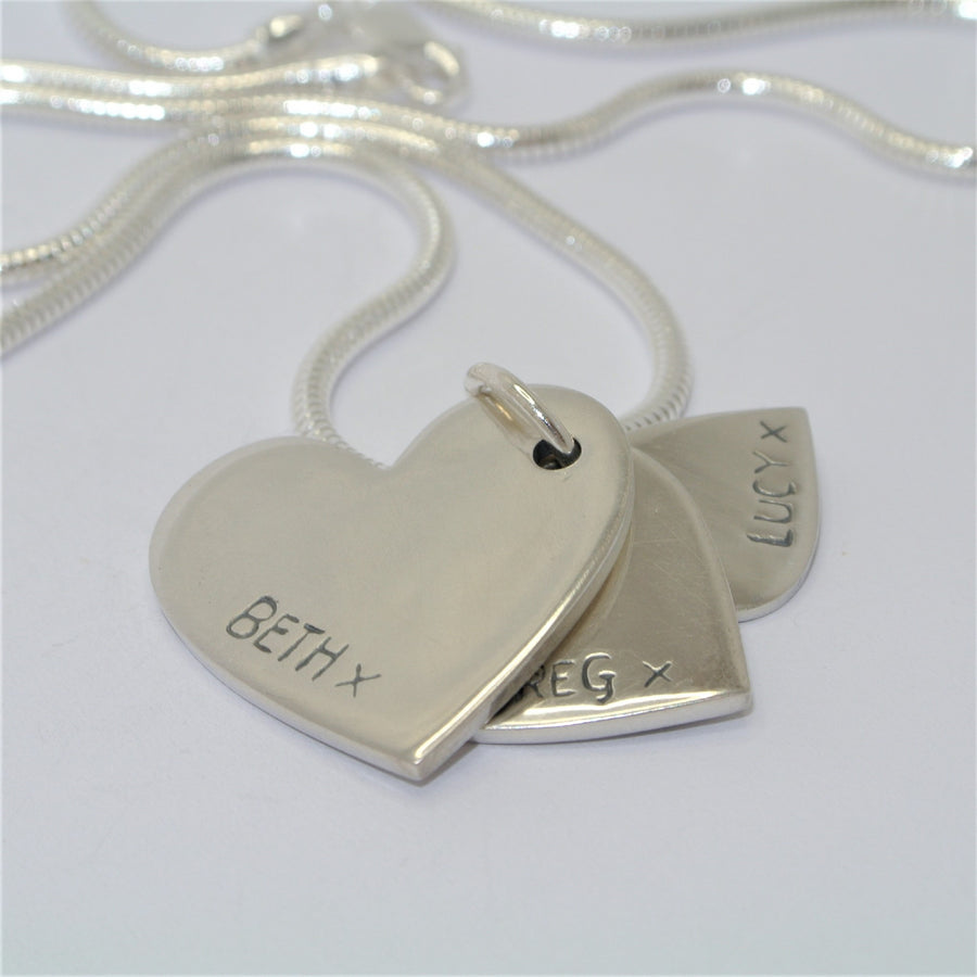 Descending Triple Sterling Silver Fingerprint Jewellery hearts