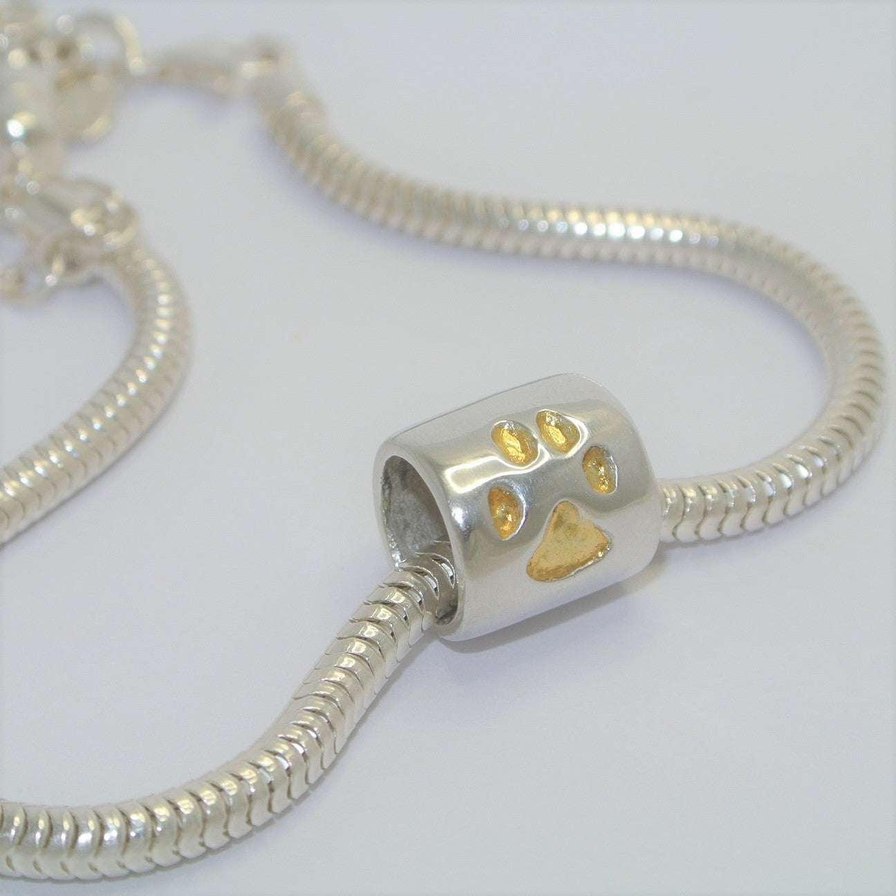 e54fe1b0c Pawprint Bracelet Barrel Bead with 24ct Gold. Sterling Silver Keepsake  Jewellery