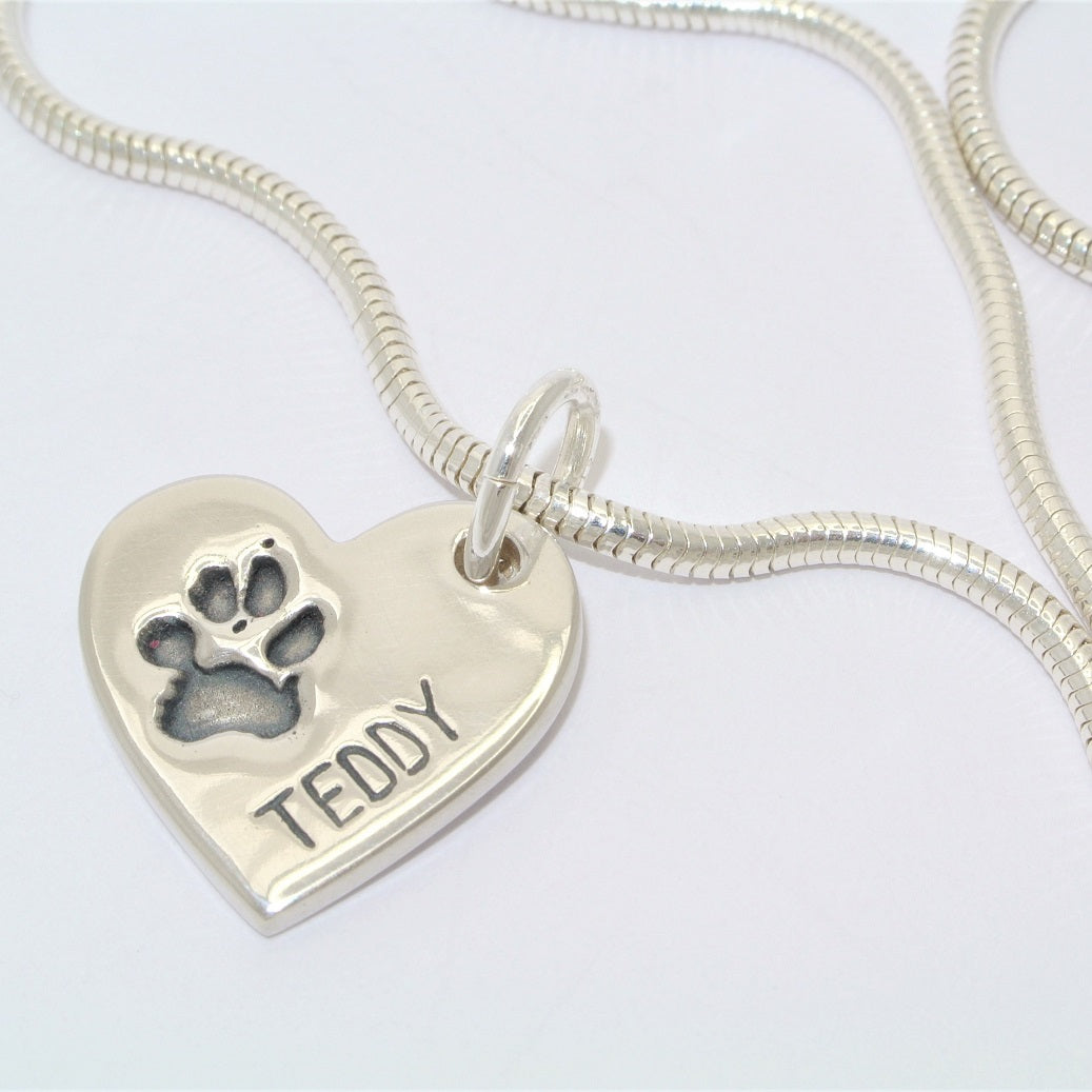 Pawprint Heart Sterling Silver Pawprint Jewellery