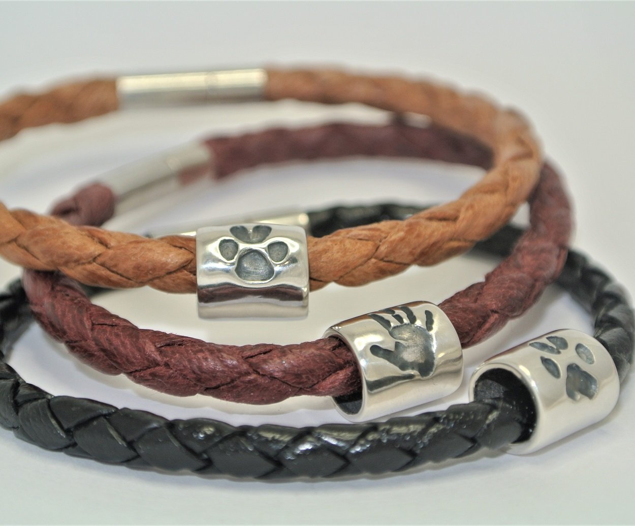 handprint vegan leather bracelet