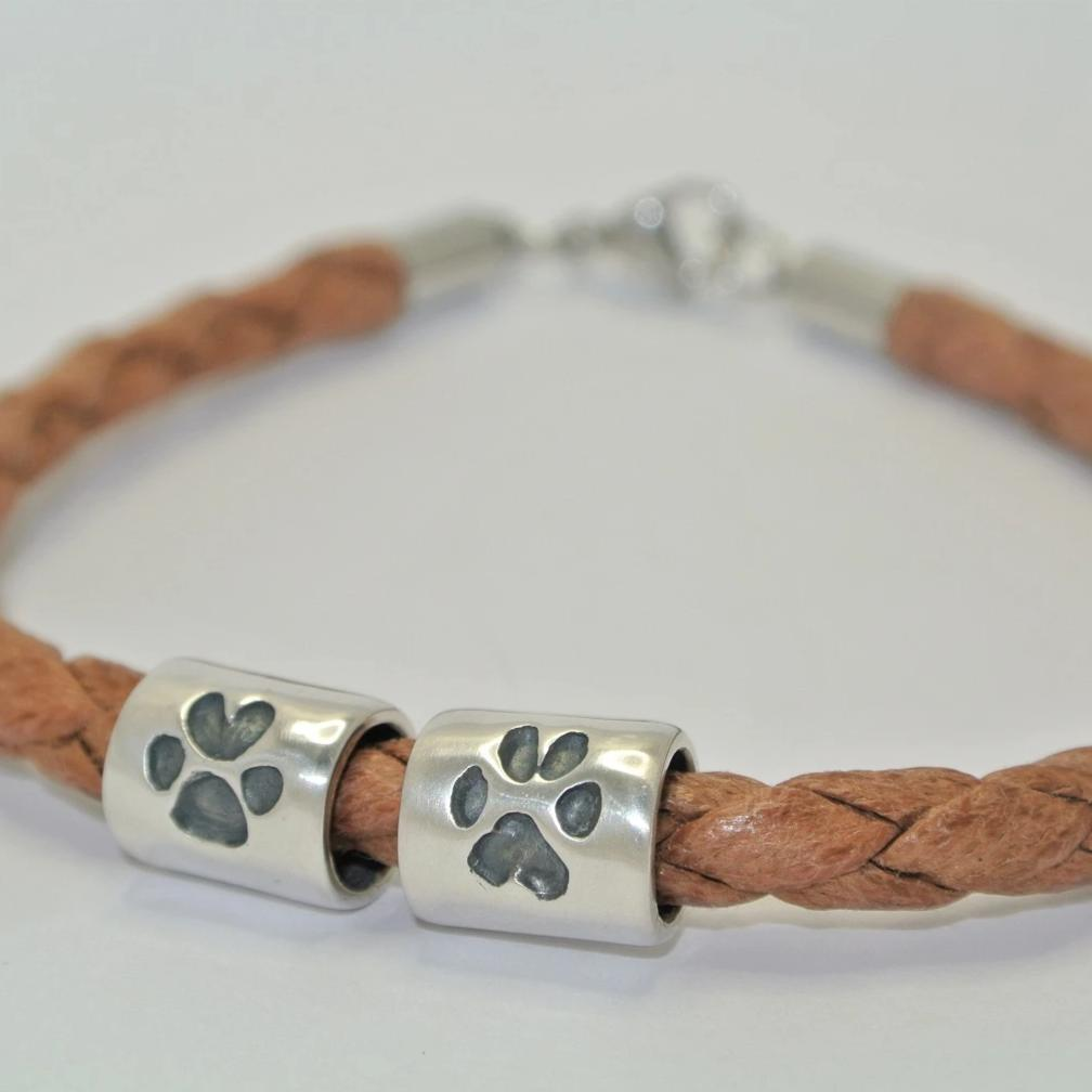Pawprint Barrel Bead. Sterling Silver Keepsake Jewellery
