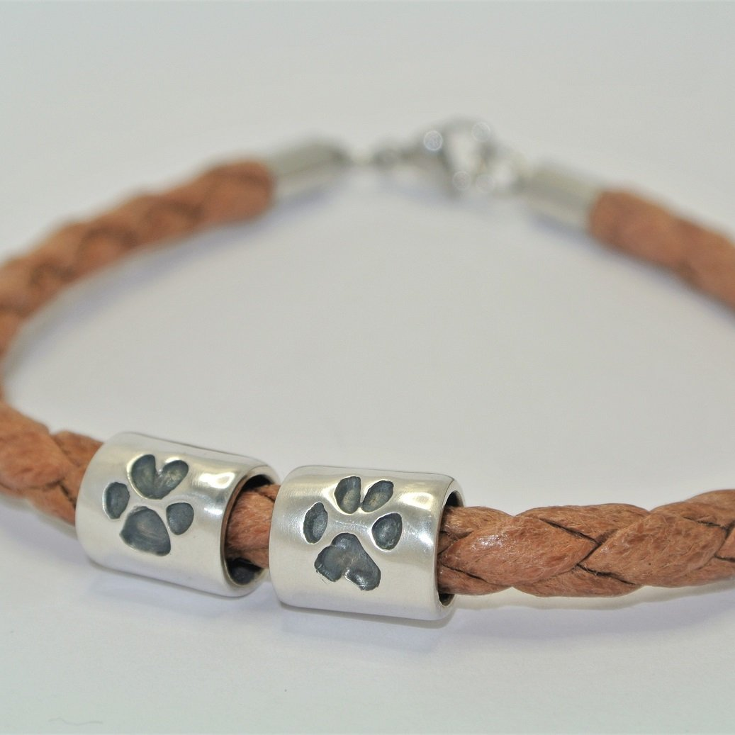 pawprint silver jewellery barrel bead mens leather bracelet