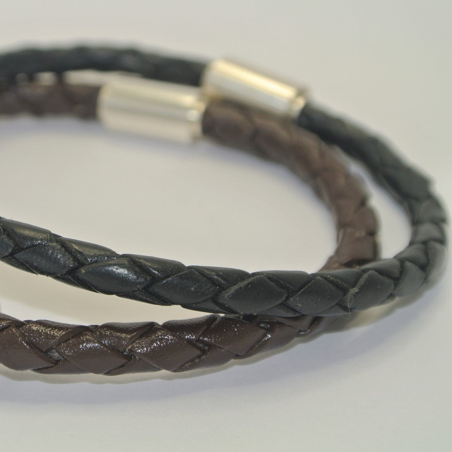 Fingerprint Jewellery Mens Barrel Bead Leather Bracelet