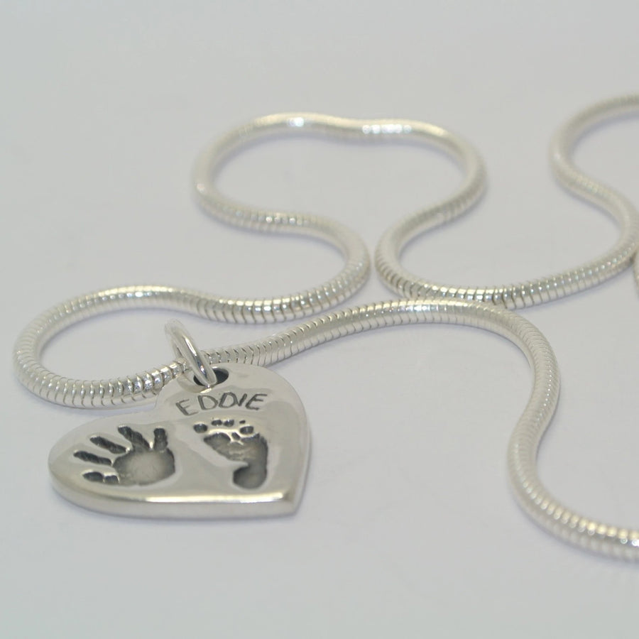 Handprint, Footprint Heart Charm Sterling Silver Handprint Jewellery